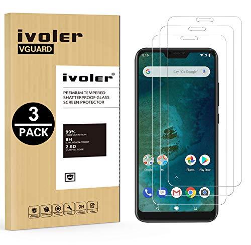 ivoler [3 पैक] Xiaomi Mi A2 लाइट के लिए टेम्पर्ड ग्लास फिल्म [लाइफटाइम वारंटी], Xiaomi Mi A2 लाइट के लिए स्क्रीन रक्षक सुरक्षात्मक फिल्म - पारदर्शी