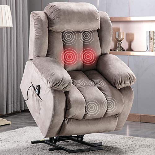 ANJ Power Lift Recliner Chair with Massage & Heat & Vibration for Elderly, Heavy Duty and Safety Motion Reclining Mechanism - Antiskid Fabric Sofa Contempoary Overstuffed Design, Camel