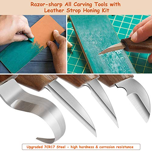 14pcs Wood Carving Tools Set,Whittling Knife Kit for Beginners with Chip Carving Knife,Hook Knife,Detail Knife,Roughing Knife Cut Resistant Gloves Basswood Carving Blocks for Spoon Gnome Owl Woodwork