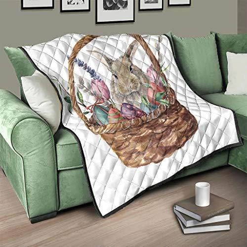 AXGM Colcha de conejo de Pascua, huevos en cesta, manta suave y cálida, para salón, color blanco, 173 x 203 cm
