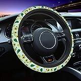 Delerain Green Avocados Steering Wheel Covers, Anti Slip Elasticity Car Accessories Steering Wheel Protector Universal 15 Inch for Women Man