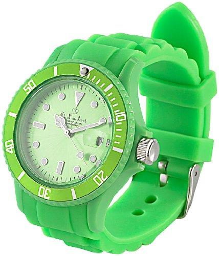 St. Leonhard Uhr Silikon: Sportliche Silikon-Quarz-Armbanduhr, Lupen-Mineralglas, peppig-grün (analog-Armbanduhr)