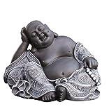 Steinfigur Buddha in Schiefergrau, Figur Deko Statue...