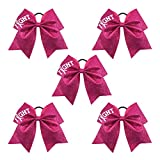 Ncmama Fight Breast Cancer Awareness Cheer Bow Glitter Hair Tie Ponytail Holder...