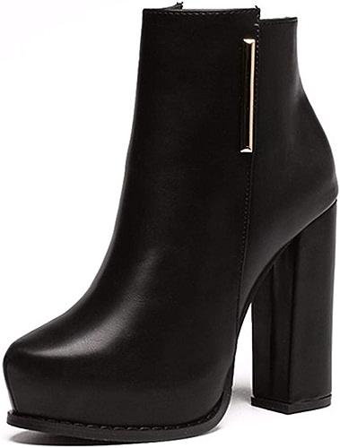 HBDLH Chaussures pour Femmes Maigre Court Bottes Femme Martin Bottes Peau De Vache Et Bottines Milieu Talons 5 Cm Trente - Quatre Abricot Couleur