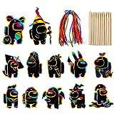 LLMZ Hojas Scratch Art Scratch Paper Manualidades niños Dibujar 30PCS Scratch Art Paper para Niños Adultos con Dibujo y Plumas de Madera