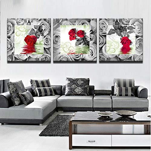 UDPBH 3 Paneles Pintura Abstracta Moderna Fotos De Pared De Fotos para Decoración De Sala De Estar Pintura Rosa Roja Flor HD Cartel Pintura De Lienzo