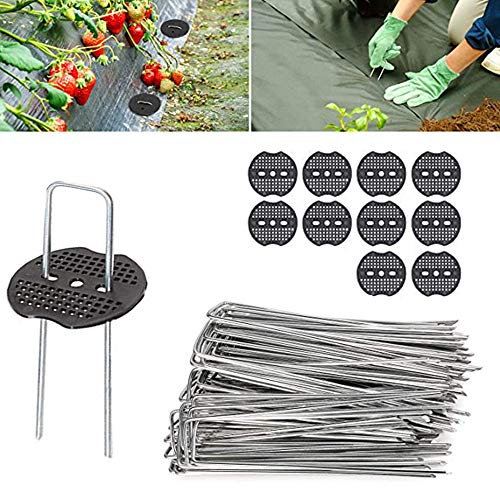 Ylinwtech 50 Pieces Garden Pegs & 10 Pieces Buffer Washer,Ground Pegs,Garden Pegs for Netting,Garden Pegs for Securing for Weed,Fencing,Lawn,Farm,Sod Securing,Fabric,Ground Sheets