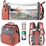 Waterproof Crib 6 in 1 Diaper Bag Backpack,Waterproof Travel Bassinet Foldable Baby Bed with Changing Station for Travel Bed Diaper Pad Stroller Organizer