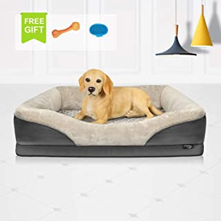 Niubya Large Orthopedic Dog Bed, Waterproof Memory Foam Pet Bed with Removable Washable Cover, Free Chewy Toy and Bath Brush, Great for Large Dogs and Cats, Grey, 38x28 Inches