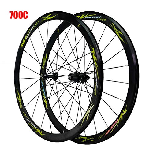 700C Bike Wheelset, Double Wall Road Cycling Wheels 40mm V-Brake Quick Release Racing Bike Wheel 24 Hole 8/9/10/11 Speed (Color : B, Size : 700C)