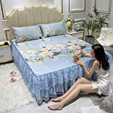 KIKIGO Estera de Seda de Hielo Estera,Summer Lace Bed Mat Skirt, Foldable and washable-A03_Three Piece Set for 2.0m Bed