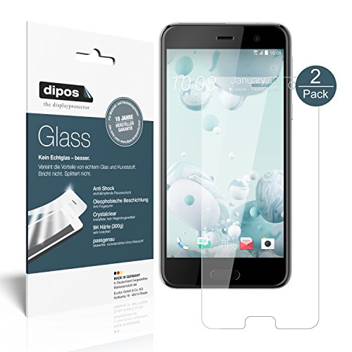 dipos I 2X Panzerfolie klar kompatibel mit HTC U Play Schutzfolie 9H Bildschirmschutz-Folie