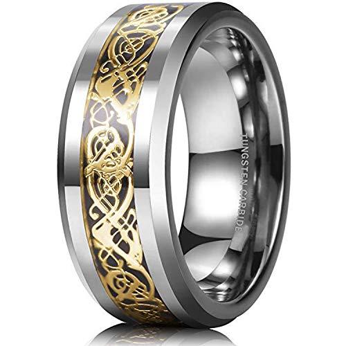 BAVAHA King Will Dragon 8mm Mens Celtic Dragon Tungsten Carbide Wedding Band Ring Black/Gold/Rose Gold/Blue/Opal/Green(9,Silver&Gold)