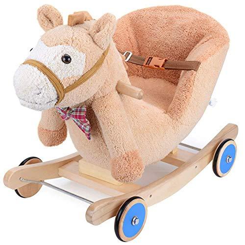 Mecedora XMJ niño del caballo de oscilación de madera maciza eje de balancín de entrenamiento del equilibrio juguete Vespa pequeños mecedora silla de la música suave del juguete del bebé del regalo de