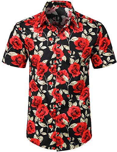 JOGAL Men's Flower Cotton Button Down Short Sleeve Hawaiian Shirt 3X-Large BlackRose