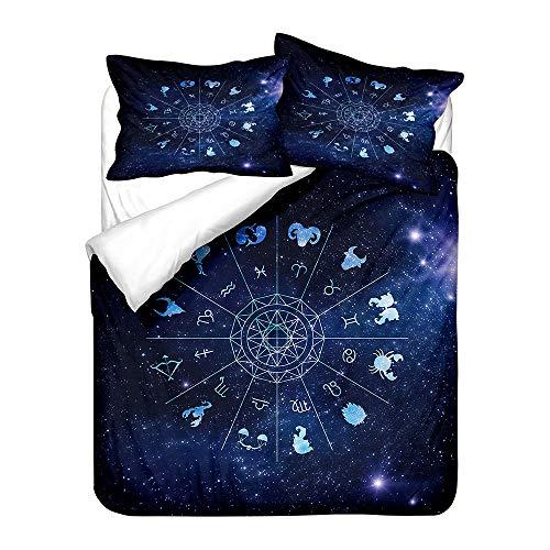 Sticker Superb. 3D Bleu Violet Noir Galaxie Étoile Cosmos Housse de Couette avec Taie d'oreiller 80x80cm, Fille Garçon Constellation Parures de Lit (Noir,220 x 240 cm/2 Taie d'oreiller 80x80cm)
