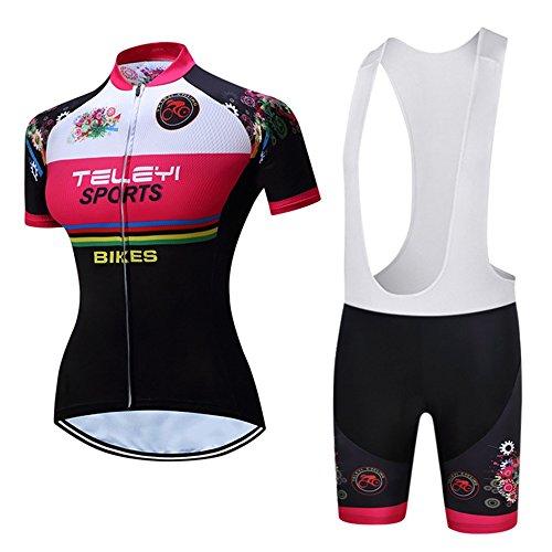 CHUANGQIF Frauen Breathable schnell trocknend Radhose Shorts + Shorts Pants + 3D Kissen gepolsterte Trikots Set Fahrrad Jersey, red