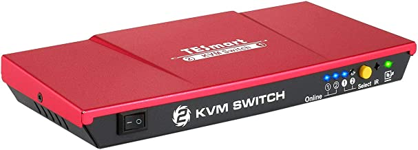 TESmart KVM 2 Port USB HDMI Switch + 2 USB HDMI Cable, 2 in 1 out with USB 2.0 Hub Ultra HD 1080P 3D 4K @ 30Hz for Monitor/Keyboard/PC Mouse Control