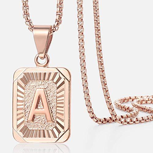YUNHE Collar de Letras cuadradas Color Oro Rosa Hombres Mujeres ABC Charm Colgante Inicial Cadena de Acero Inoxidable Joyería de Moda Regalos Gpm12