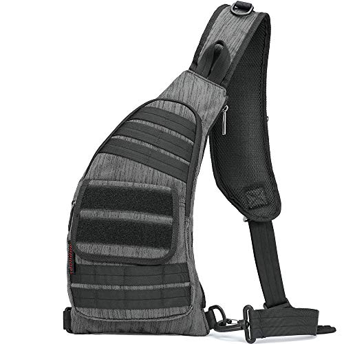 AOPUOP Nylon Sling Bag Chest Shoulder Backpack Unbalance Cross-body Bag Women Men Day Pack for Outdoor Cycling, Hiking, Running, Climbing and Traveling (Dark Grey)