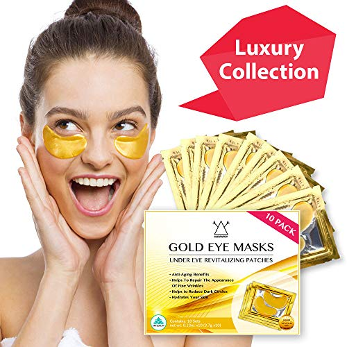 24K Gold Eye Mask / Anti-aging Hyaluronic Acid Eye Patches / Gold Collagen Eye Strips for Anti Wrinkle Tissue Rejuvenation / Spa Quality / 10-Pack