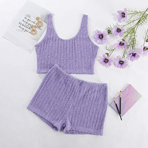 BVBVBV Corsés para Mujer Ropa de Dormir para Mujer Nuevo Conjunto de Pijama de Moda cómodo de Punto Morado Morado Claro M
