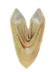 Matt Gold Sequin Metal Mesh V Shape Cut Top