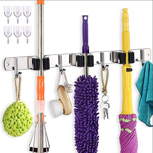 NADAB LIVE FREELY Mop and Broom Holder Wall Mount Organizer Storage Stainless Steel Tool Rack with 3 Racks 4 Hooks for Kitchen Bathroom Broom Closet Garage Garden with 6 Adhesive Hooks(Black)