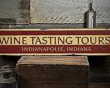 free brand Cartel de madera con texto en inglés 'Wine Tasting Tours' para bodega, decoración de flecha, cartel rústico hecho a mano de madera vintage
