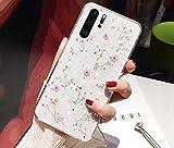 Uposao Custodia Compatibile con Huawei P30 PRO Cover in Silicone Lucido Glitter Bling Secchi Fiori in Silicone TPU Case Protettiva Trasparente in Cristallo Shell,Rosa