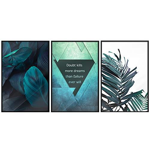 murando Poster 3er-Set Bilder Kunstdruck Posterset Plakat Wandbild Print Kunstposter Wandposter Wandbild Wohnung Wanddeko Design Türkis Blau Monstera Pflanze Tropisch