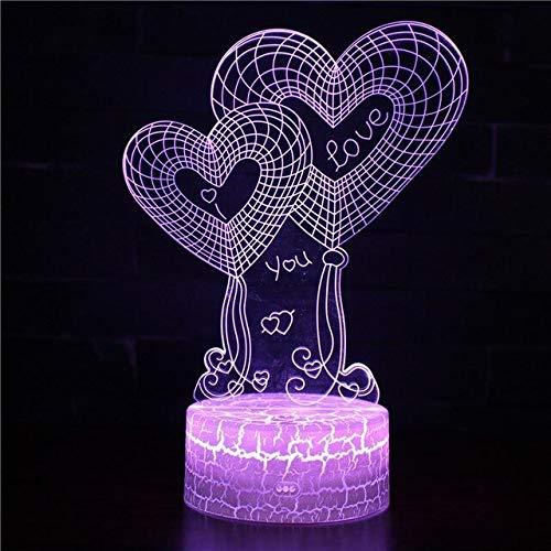 Valentinstag Liebe Herz Verlobt Kreative 3D LED Nachtlicht USB Tischlampe Kinder Geburtstag Geschenk Nachtdekoration am Bett