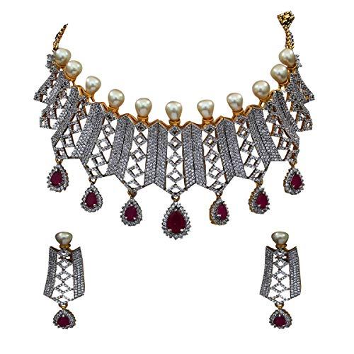 JewelryGift Fashion Necklace with Pear Drop Earring for Women Girls Ladies Pink CZ Ruby Indian Traditional Chokar Jewellery Set Gold Plated Chain Haar Bridal Jewellery Gift for Womens MN 66-RED