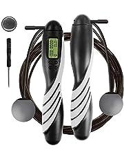 iMoebel hopprep digital räknare justerbar – Speed Rope rephopp med stålrep halkskydd tunga ergonomiska handtag, kaloriräknare timer för fitness boxning bantning crossfit