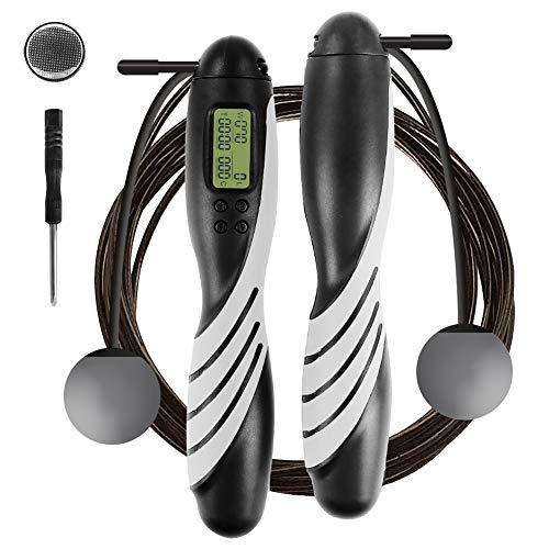 iMoebel Springseil digital Zähler Verstellbar - Speed Rope Seilspringen mit Stahl Seil Anti-Rutsch Schwerer ergonomisch Griffe, Kalorienzähler Timer für Fitness Boxen Abnehmen Crossfit (Schwarz)