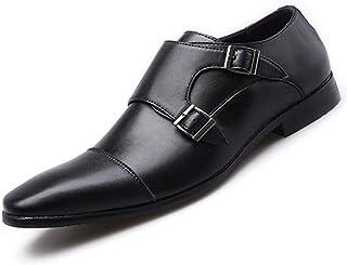 Kzzkoo ビジネスシューズ 外羽根 ストレートチップ 革靴 メンズ 紳士靴 モンクストラップ 通気性 ドレスシューズ 成人式 スリッポン カジュアル 歩きやすい 疲れない フォーマル リクルート スーツ用 面接 パーティー 二次会