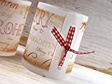Set 6 x Lichthülle für Tischlicht mit Karoband Advent Weihnachten handmade vintage look - 2