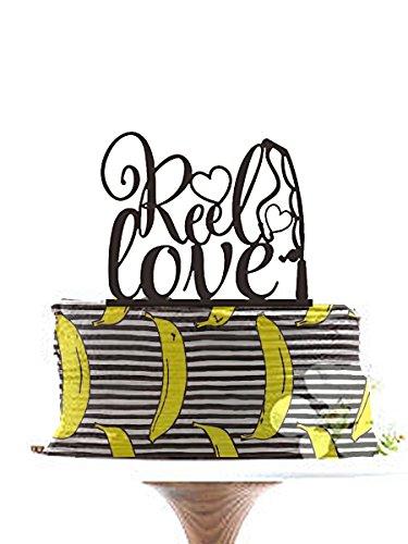 Reel Love Tortenaufsatz, Hochzeit Tortenaufsatz, Verlobungsring Tortenaufsatz, Custom Tortenaufsatz, Einzigartige Cake Topper, Angeln Kuchen Topper. ¡