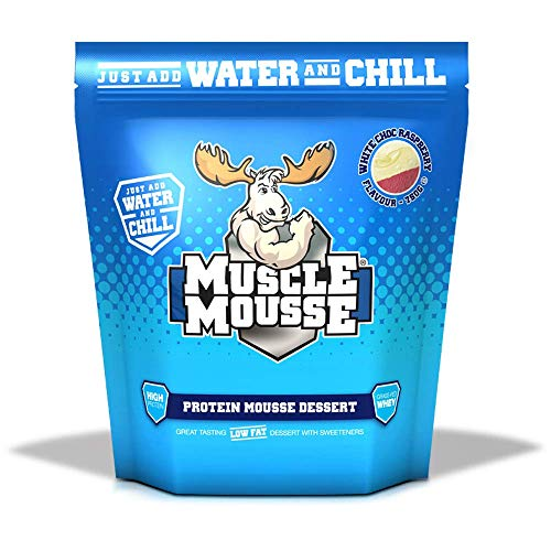 Muscle Mousse – High Protein Dessert Mix, Slow Release & Gluten Free | Perfect Sweet Treat, Easy to Make, 750g (15 Servings) (White Chocolate Raspberry)