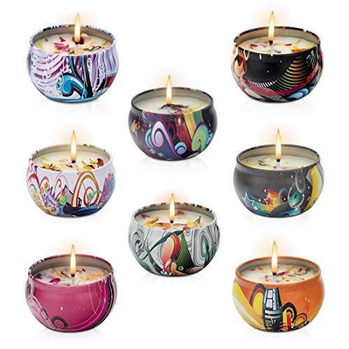 ceuao Duftkerzen mit getrocknete Blumen, Duftkerze Set - 8 Stück, 100% Natürliches Sojawachs Kerzen für Bad und Spa Meditation, entspannendes Geschenk, duftkerze Weihnachten