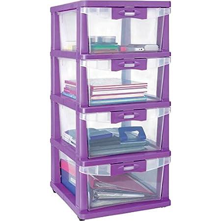 Nilkamal Chester 24 Plastic Cabinet Drawer Purple Rectangular 35x43x84