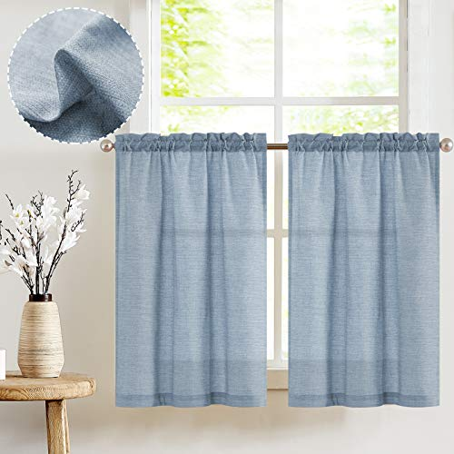 jinchan Tier Curtains Linen Textured 36 Inches Long Curtains for Kitchen Small Cafe Curtains for Window Treatment Set 2 Panels Blue