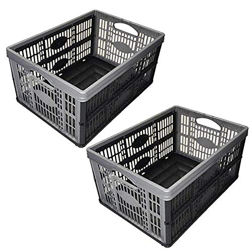 Pack of 2/3/4/5/6/8/10 Plastic Folding Storage Crate Box 32Lt Stackable (Pack of 2 Crates)