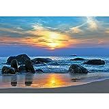 Vlies Fototapete PREMIUM PLUS Wand Foto Tapete Wand Bild Vliestapete - Strand Felsen Meer Wellen Sonnenuntergang - no. 453, Größe:400x280cm Vlies
