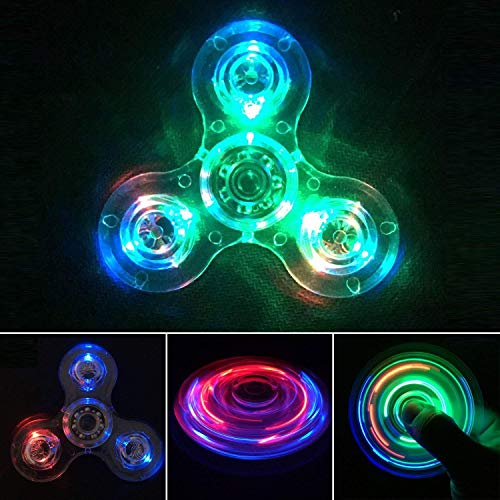 IREENUO Crystal Led Light Fidget Spinner Toy Hand Tri Spinner Single Finger Fast Bearings Anxiety Relief EDC Toys for Children and Adults (Crystal-White)