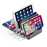 Charging Station Organizer for Multiple Devices, 55W 5 in 1 Charging Station Dock with 3 USB-A and 1 (20W) USB-C Fast Charging Ports & 15W Wireless Charger for iPad,iPhone,Android Phone,Tablets(Gray)