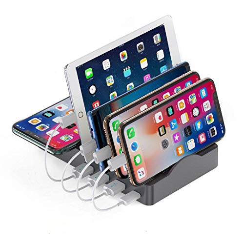 Charging Station Organizer for Multiple Devices, 55W 5 in 1 Charging Station Dock with 3 USB-A and 1 (20W) USB-C Fast Charging Ports & 15W Wireless Charger for Phone,Android Phone,Tablets(Gray)