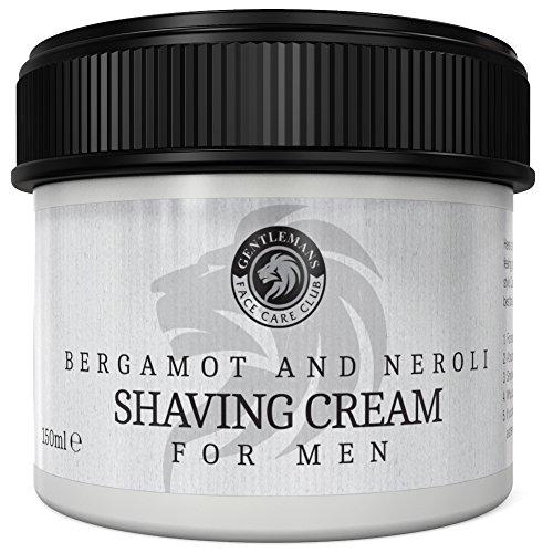 Vegan Friendly Shaving Cream For Men - Gentlemans Face Care Club Bergamot & Neroli Luxury Shave Cream - Super Lather Smooth Shave Formula - Large 90 Day Supply 150ml Pot + 100% Money Back Guarantee