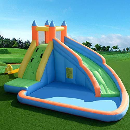 Mnjin Interesante Bouncy Castle Inflable Jumper House Tobogán de Piscina de Agua Centro de Actividades para niños con tobogán, Muro de Escalada y área de la Piscina
